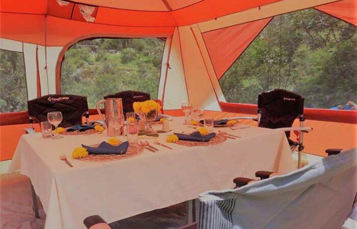 preparing dining tent